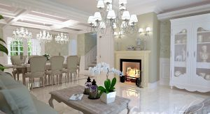 Ekskluzywnie urządzony dom, inspirowany stylistyką francuską.