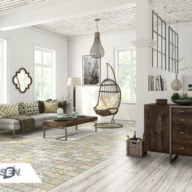 Pomysły, jak podzielić wnętrze łącząc różne rodzaje podłogi