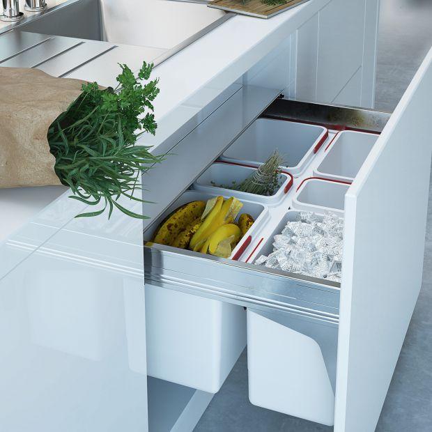 Nowoczesna kuchnia: pojemniki do segregacji odpadów