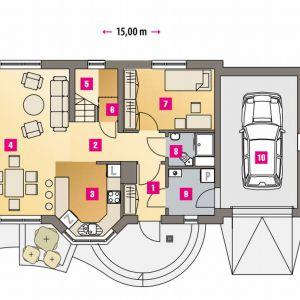 PARTER: 59,00 m2 1. wiatrołap – 3,50 m2 2. hol – 6,00 m2 3. kuchnia – 8,30 m2 4. pokój dzienny – 25,30 m2 5. schody – 2,00 m2 6. spiżarnia – 0,80 m2 7. sypialnia – 10,30 m2 8. wc – 2,80 m2 9. pralnia + co* – 4,00 m2 10. garaż* – m2