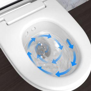 Technologia TurboFlush: asymetryczne wnętrze bezkołnierzowej ceramicznej miski sprawia, że toaleta spłukiwana jest bardzo dokładnie, a równocześnie wyjątkowo cicho. Fot. Geberit