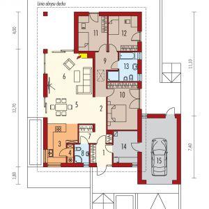 Parter: 1. Wiatrołap 4.61 m2 2. Hol 7.10 m2 3. Kuchnia 10.98 m2 4. Spiżarnia 1.18 m2 5. Jadalnia 13.76 m2 6. Pokój dzienny 22.45 m2 7. Garderoba 3.14 m2 8. Łazienka 2.81 m2 9. Korytarz 7.69 m2 10. Sypialnia 16.27 m2 11. Sypialnia 11.57 m2 12. Sypialnia 11.57 m2 13. Łazienka 7.21 m2 14. Kotłownia 8.79 m2 15. Garaż 25.34 m2