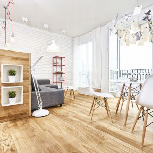 Mimo że meble i ściany są śnieżnobiałe, wnętrze nie jest zimne. Ociepla je bowiem naturalne dębowe drewno wprowadzone do projektu w dużej ilości. Projekt: Katarzyna Kiełek iAgnieszka Komorowska-Różycka. Fot. Studio 17 PIXELI