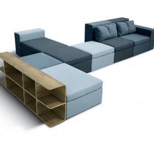 Sofę MODULOR można przekształcać na różne sposoby, tworząc z niej fotel, pufę lub narożnik. Fot. Grynasz Studio