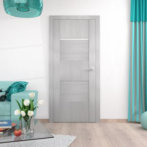 Kolekcja drzwi PRADO swój innowacyjny wygląd zawdzięcza naprzemiennie ułożonym panelom i bezprzylgowej konstrukcji, która podkreśla ich nowoczesną stylistykę. 848,70 zł. Fot. Pol-Skone