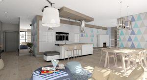 Apartamentu, w którym główną rolę odgrywa barwa niebieska. Jest ona motywem przewodnim mebli, koloru ścian, podłóg w postaci dywanów.