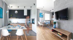 Pięknąaranżację mieszkaniana Żoliborzu urządzono w nowoczesnym stylu. Część dzienna to salon połączony z jadalnią i otwarta kuchnia,część nocna to sypialnia.