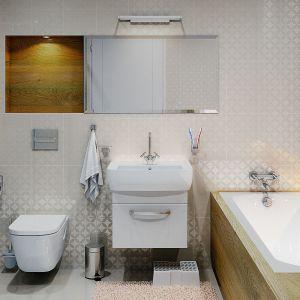 Dzięki jasnym płytkom wnętrze łazienki powiększono optycznie. Dom Ambrozja. Projekt: arch. Tomasz Sobieszuk. Fot. MTM Styl