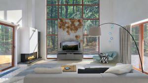 Reprezentacyjna część salonu to ściana z ogromnym przeszkleniem. Wyeksponowane na betonowej ścianie heksagonalne elementy dekoracyjne nawiązują do lasu za oknem.