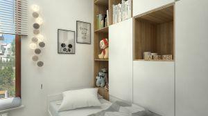 Zabudowa meblowa łączy się z łóżkiem. W nocy łatwiej sięgnąć po ulubionego przytulasa czy odłożyć książkę.