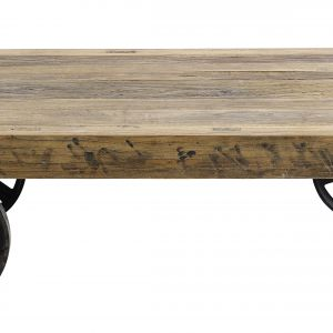 STOLIK KAWOWY wyprodukowany z wiązowego drewna pochodzącego z recyklingu, na nóżkach w postaci kółek. Fot. Nordal