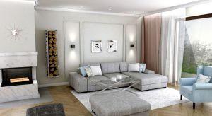 Salon domu w Wejherowie urządzono na styl nowoczesny, z nutami klasyki oraz glamour.