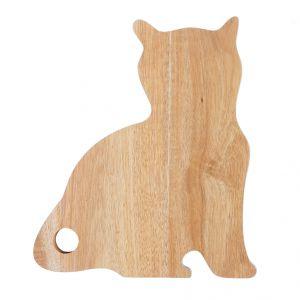 Deska Cat wykonana z drewna akacji w fantastycznej formie siedzącego kota. Fot. Home&You