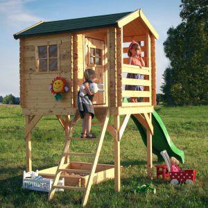 Arek to drewniany domek z suchego świerku na platformie, o wewnętrznej powierzchni zadaszonej 1,1 m2, który wspaniale rozwija wyobraźnię i sprawność ruchową dziecka. Fot. 4IQ