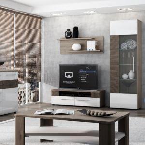 Meblościanka Cala Luna to nowoczesne meble w bieli na wysoki połysk z eleganckim detalem w postaci pasów drewna. Fot. Meble Wójcik