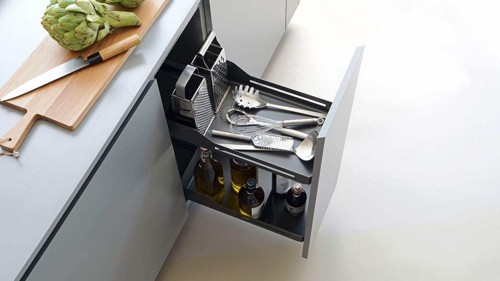 Snello to system wysuwany, mocowany do frontów, które pozwalają jednym ruchem wysunąć zawartość całej szafki na zewnątrz i łatwo sięgnąć po potrzebne produkty. Fot. Peka