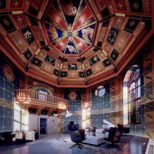 Najbardziej spektakularnym elementem inwestycji Angel wawel jest 4-kondygnacyjny penthouse z polichromiami wykonanymi przez Jana Bukowskiego. Fot. materiały prasowe