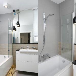 Wanna z parawanem w małej łazience. Projekt: Joanna Morkowska-Saj. Fot. Bartosz Jarosz