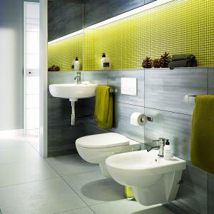 Jednym z rozwiązań, które sprawdzą się przy ożywieniu pomieszczenia w szarościach jest postawienie na mocny akcent kolorystyczny. Może być to fragment ściany, ręcznik, kosz na śmieci czy dozownik na mydło. Fot. Koło