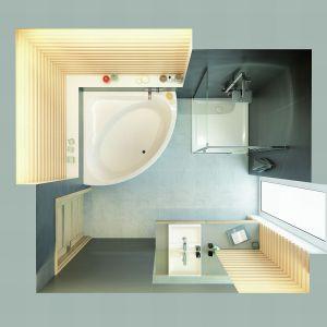 Kabina prysznicowa narożna z drzwiami skrzydłowymi Free Line KNDJ2/FREEII/Sanplast. Produkt zgłoszony w konkursie Dobry Design 2018.