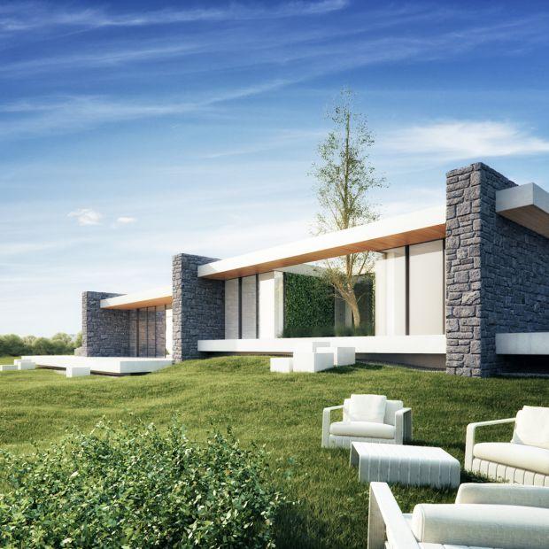 Dom kaskadowy z kamiennymi ścianami. Zobacz piękny projekt