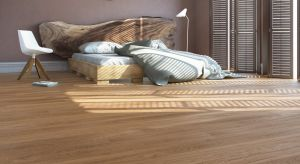 Odpowiednia aranżacja sypialni jest bardzo ważna. Dzięki jasnej podłodze wnętrze będzie przytulne i stylowe.