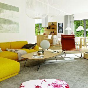 Charakterystycznym elementem aranżacji jest wygodna kanapa w energetycznym żółtym odcieniu, która wnosi do wnętrza solidną porcję pozytywnej energii. Dom Nikolas II G2 Energo Plus. Projekt: arch. Artur Wójciak. Fot. Pracownia Projektowa Archipelag