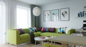 Projekt utrzymany w ciepłym skandynawskim stylu. Dominują jasne odcienie, drewno i akcenty w intensywnych kolorach.