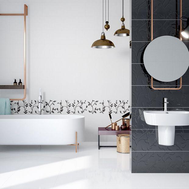 Płytki do łazienki - zawsze modny duet czerni i bieli