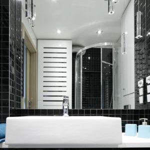 Mozaika będzie idealną dekoracją strefy z umywalką. Projekt Marta Kilan. Fot. Bartosz Jarosz