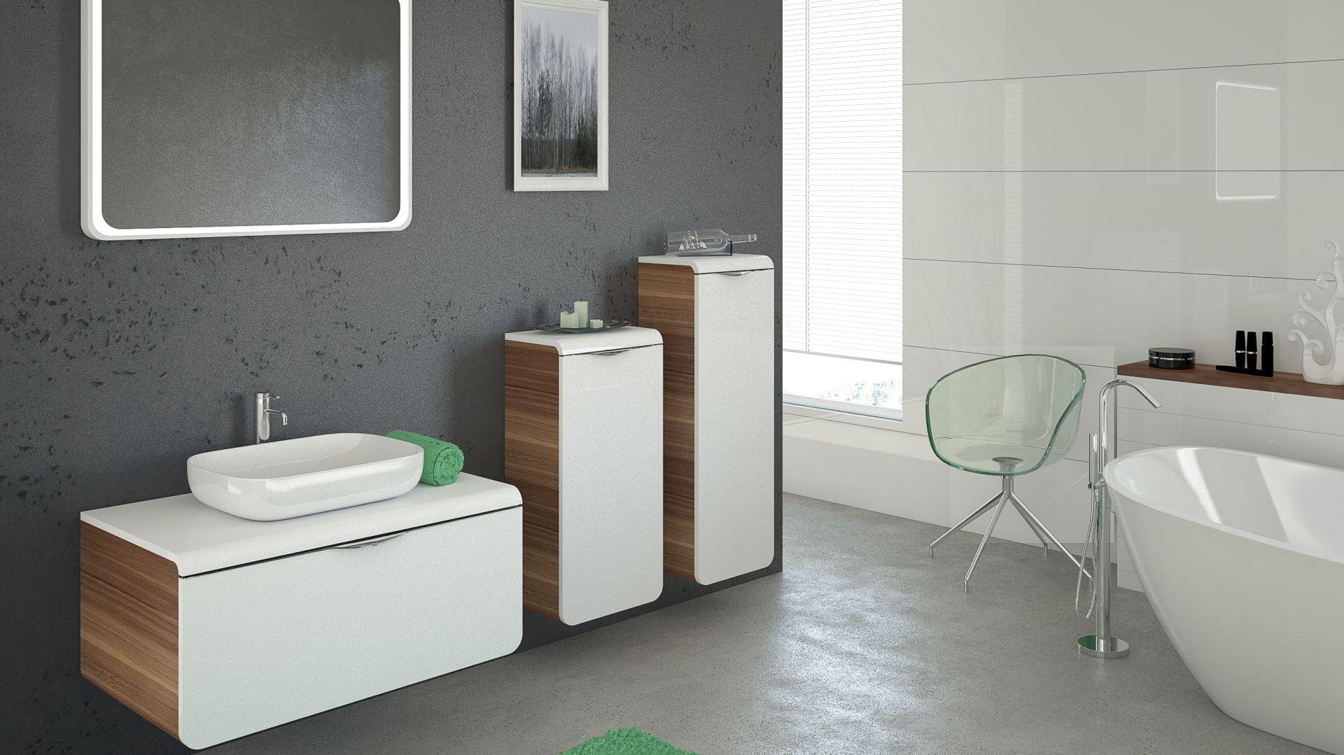 Meble łazienkowe Mocca marki Devo to eleganckie połączenie lakierowanej bieli o drewnianego dekoru. Fot. Devo; www.devo.pl