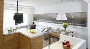 W mieszkaniu singla salon zwykle połączony jest z aneksem kuchennym, dlatego obie strefy powinny stanowić spójną pod względem stylu całość.
