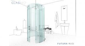 Kolekcja Futura obejmuje dwa modele kabin prysznicowych GLASIMO. ARCO wyznaczająca łuk pomiędzy dwoma ściankami narożnika kabiny oraz RUO, wolnostojąca kabina opisana na okręgu. Produkt zgłoszony do konkursu Dobry Design 2018.