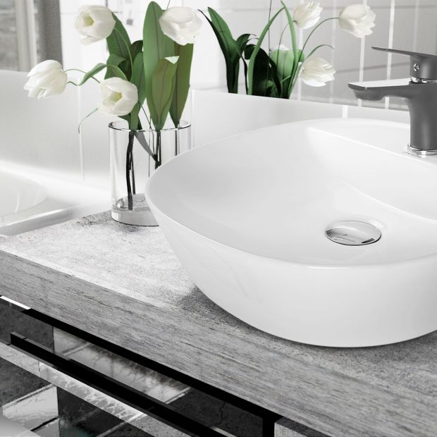 Modna łazienka: ciemne baterie umywalkowe