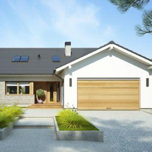 Dwustanowiskowy garaż jest bardzo praktycznym rozwiązaniem. Projekt: Marcin Abramowicz, Marta Zaperty-Adamek. Fot. Dobre Domy Flak & Abramowicz