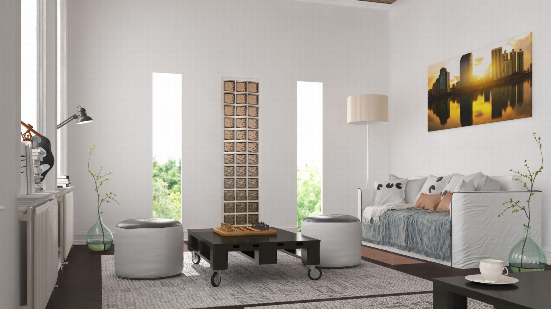 Ściana w salonie: pomysły na wykorzystanie luksferów. Fot. Seves