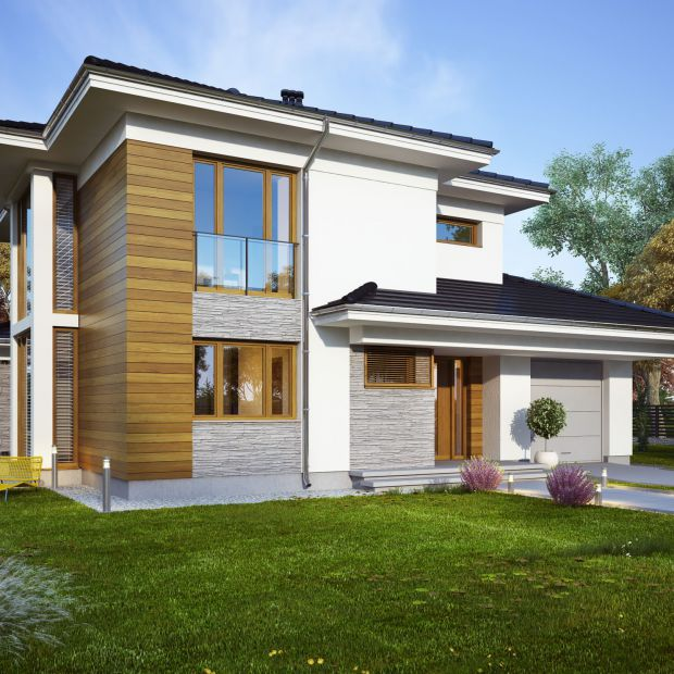 Piękny dom piętrowy: projekt i wnętrze podmiejskiej willi