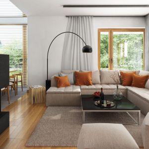 Białe minimalistyczne wnętrze ożywia ciepła drewniana podłoga.  Projekt: Marcin Abramowicz, Jagoda Gruca, Dobre Domy