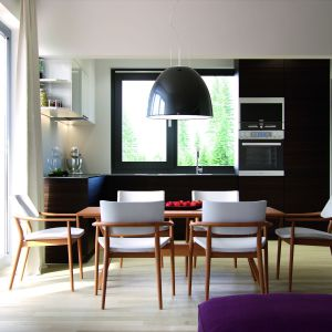 Nowoczesne meble i elementy oświetlenia są dopełnieniem wnętrza. Dom Ariel. Projekt: arch. Tomasz Sobieszuk, MTM Styl