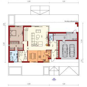 Rzut parteru. Dom EX 18 G2 Energo Plus. Projekt: arch. Artur Wójciak. Fot. Pracownia Projektowa Archipelag