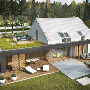 Prosty i oszczędny w formie dom to idealna propozycja dla wszystkich, którzy szukają nowoczesnego domu z nutką ekstrawagancji. Dom EX 18 G2 Energo Plus. Projekt: arch. Artur Wójciak. Fot. Pracownia Projektowa Archipelag