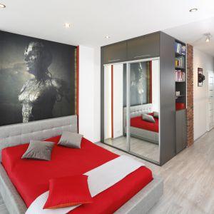Aranżacja sypialni: ściana za łóżkiem. Projekt: Monika Olejnik. Fot. Bartosz Jarosz