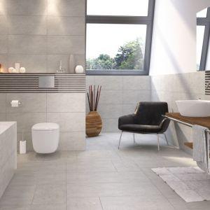 Nowoczesna łazienka: szare płytki ceramiczne. Kolekcja Dusk. Fot. Opoczno