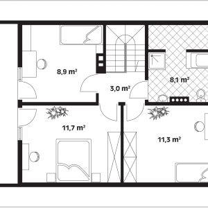 Rzut poddasza. Poddasze: 43,00 m2 1. korytarz – 3,00 m2 2. pokój –11,70 m2 3. pokój – 8,90 m2 4. łazienka – 8,10 m2 5. pokój – 11,30 m2