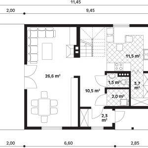 Rzut parteru. Parter: 57,40 m2 m2 2. korytarz – 10,50 m2 3. salon + jadalnia – 26,60 m2 4. kuchnia – 11,50 m2 5. spiżarnia – 3,70 m2 6. wc – 1,50 m2 7. pom. gospodarcze – 2,00 m2