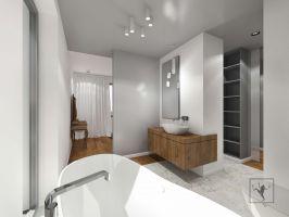 Otwarta łazienka sąsiadująca z sypialnią. Projekt: Marcin Gałuszka, Marcin Janus, Frog Studio