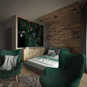 W subtelnie wyodrębnionej strefie sypialni uwagę zwraca przepiękna tapeta. Projekt: Beata Wołkowska, VIVINO Studio
