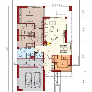 Rzut domu. Projekt: Artur Wójciak. Fot. Pracownia Projektowa Archipelag  Parter:     1. Wiatrołap 6.71 m²     2. Hol 7.31 m²     3. Kuchnia 13.00 m²     4. Spiżarnia 2.08 m²     5. Jadalnia 13.71 m²     6. Pokój dzienny 32.77 m²     7. Łazienka 2.91 m²     8. Korytarz z garderobą 12.56 m²     9. Sypialnia 26.40 m²     10. Sypialnia 10.99 m²     11. Sypialnia 11.01 m²     12. Łazienka 9.83 m²     13. Kotłownia 12.56 m²     14. Garaż 33.67 m²