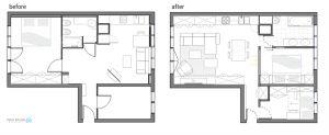 Rzut mieszkania przed i po remoncie. Fot. MAKA Studio