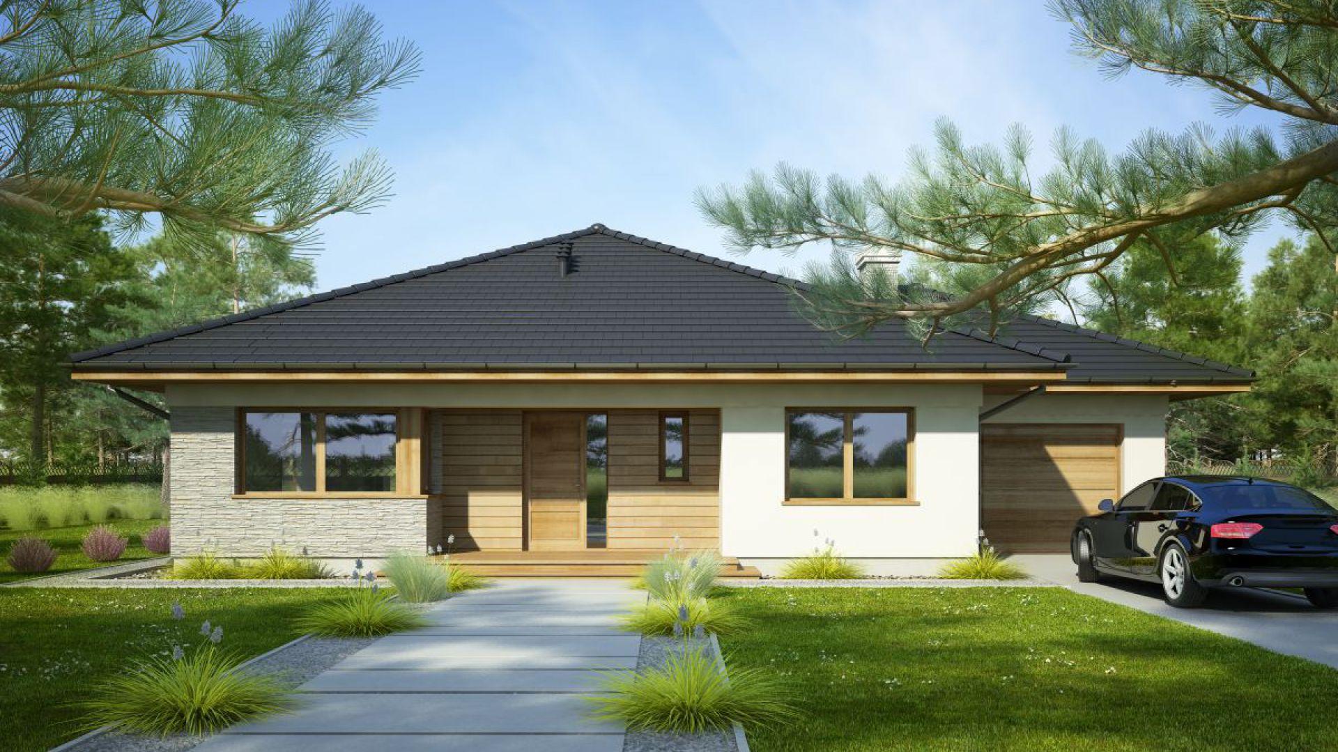 Fabia II to projekt małego domu parterowego z garażem, ciekawie zaprojektowanego, z kopertowym dachem. Bryła budynku jest urozmaicona wcięciami, podcieniami i wykuszem. Powierzchnia użytkowa: 109,60 m²; średni koszt budowy